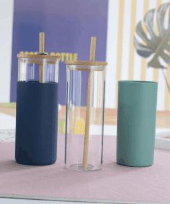 Bouteille à paille en verre à double paroi