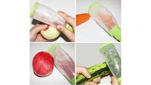 Éplucheur à récipient pour fruits et légumes