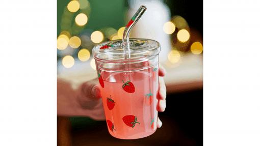 Verre à motif fraise sirop de fraise